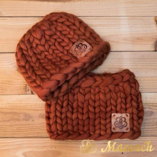 Gorro beanie unisex punto grueso de lana merino 100%
