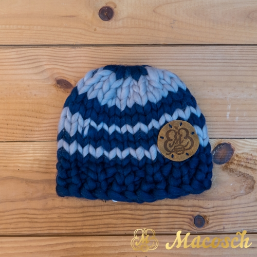 Child blue beanie hat, 100% merino wool bulky knit