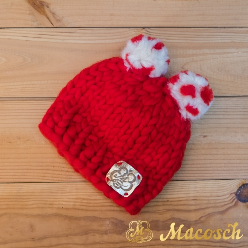 Child beanie red hat with two pom-poms, 100% merino wool, bulky knit