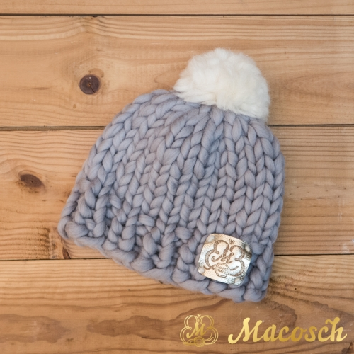 Child beanie pearly gray hat with white pom pom, 100% merino wool, bulky knit