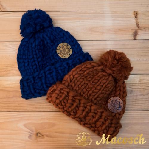 Pom pom oversized hat, 100% merino wool bulky knit
