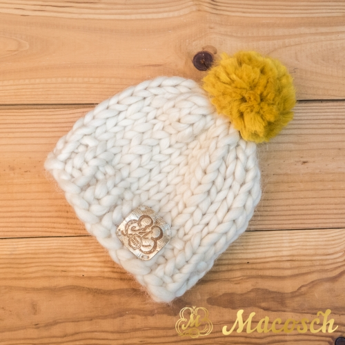 Child beanie white hat with yellow pom pom, 100% merino wool, bulky knit