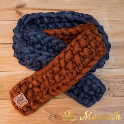 Bufanda larga de punto grueso de lana merino 100%