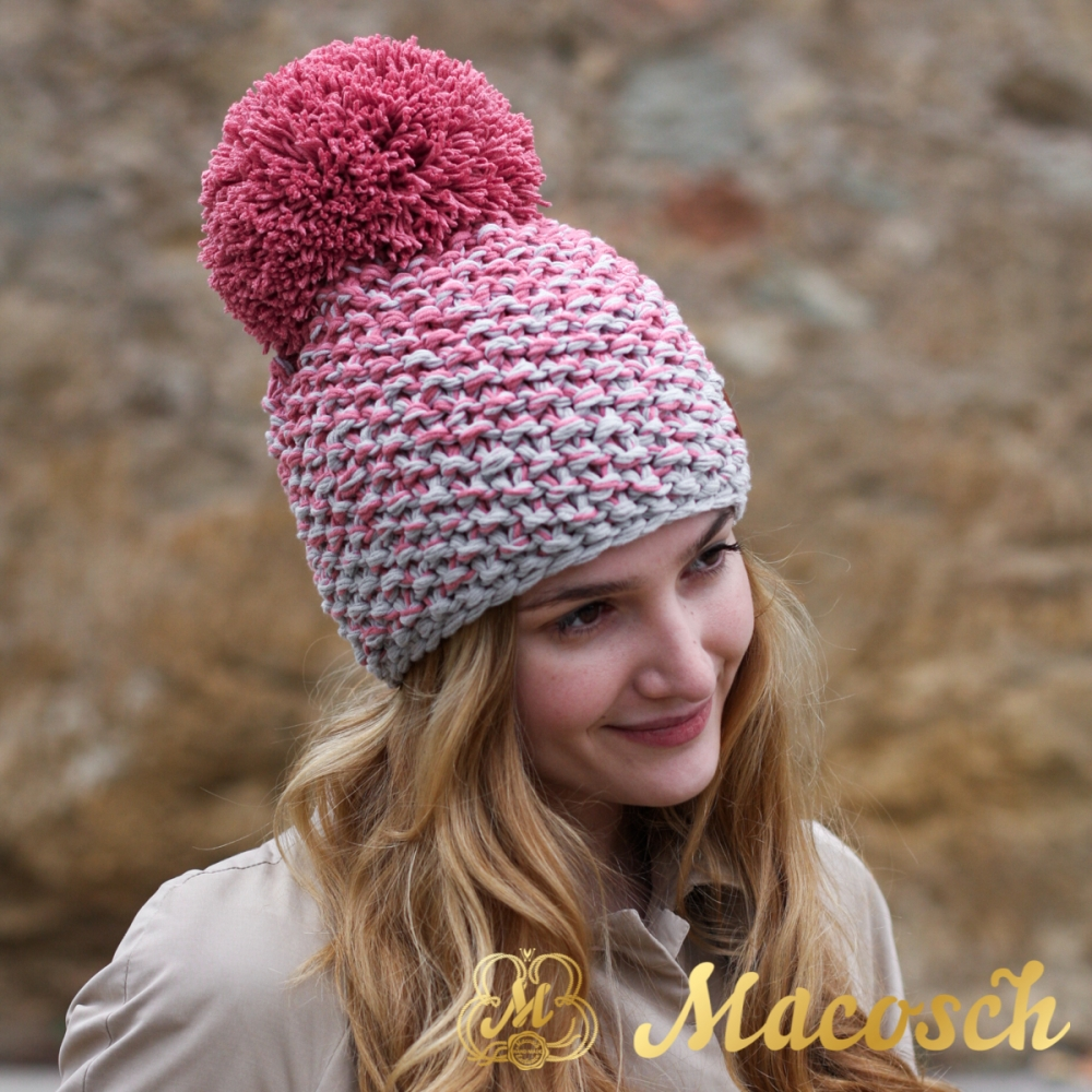 Cotton rose and pearl grey beanie with pom pom