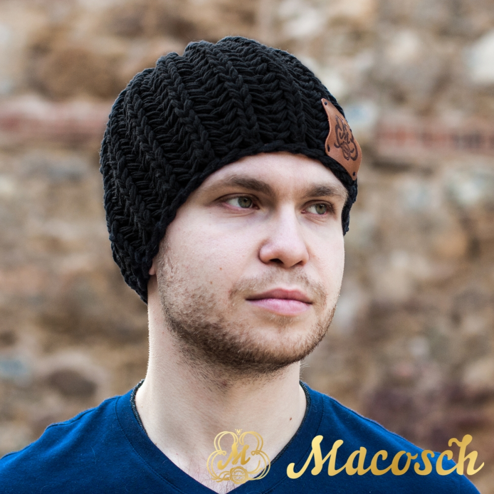 Cotton black beanie for men