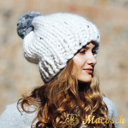 Pom pom white hat with gray pearls, merino wool 100% big loop