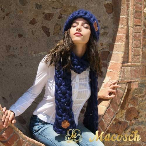 Kit oversized beanie + blue XXL scarf - big knit yarn wool