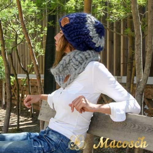 Conjunto gorro oversize + cuello lana gruesa