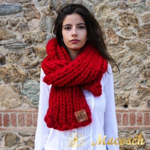 Long scarf - big knit yarn 100% merino wool
