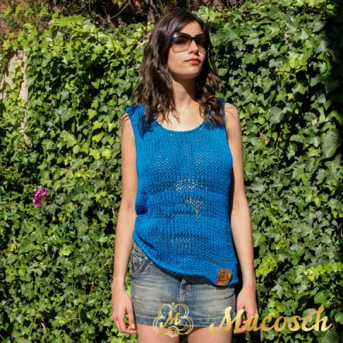 Cotton electric blue knitted top