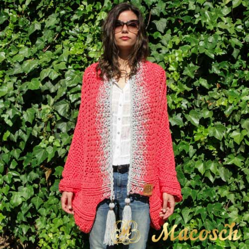 Coral electric + pearl gray reversible pom pom poncho - cotton