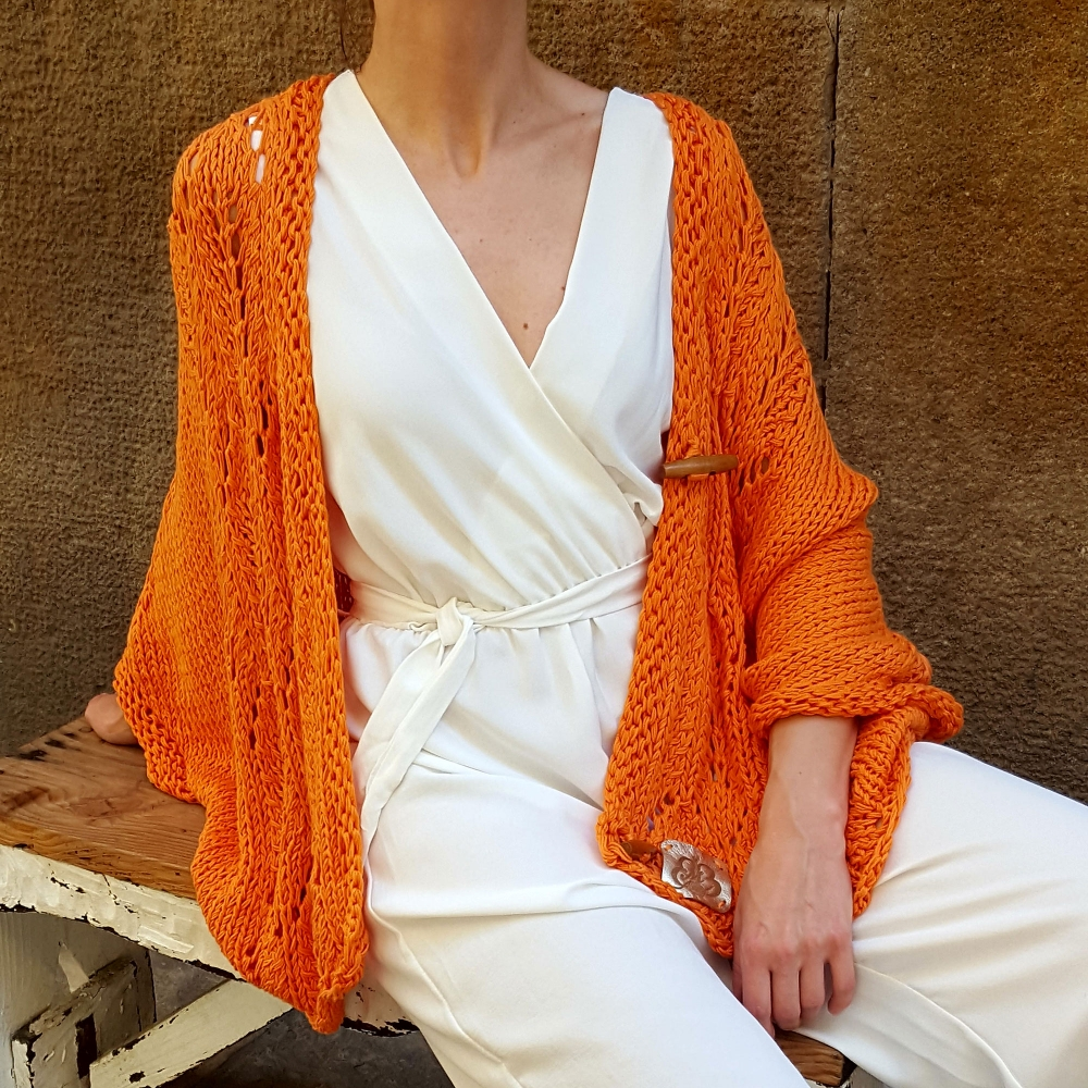 Cardigan IRIS, orange. Cotton bat sleeve cardigan for women