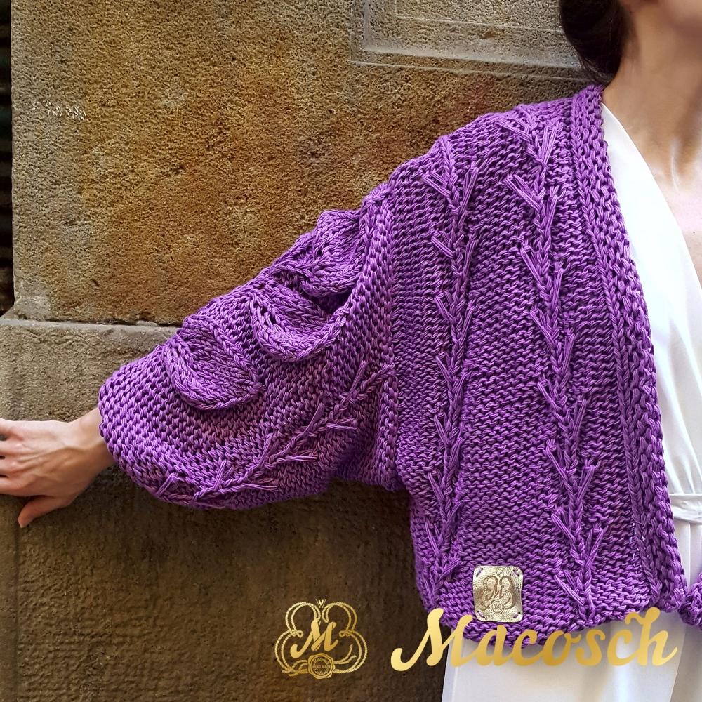 Cardigan AZALIA, purple.100% cotton long-sleeved short cardigan.