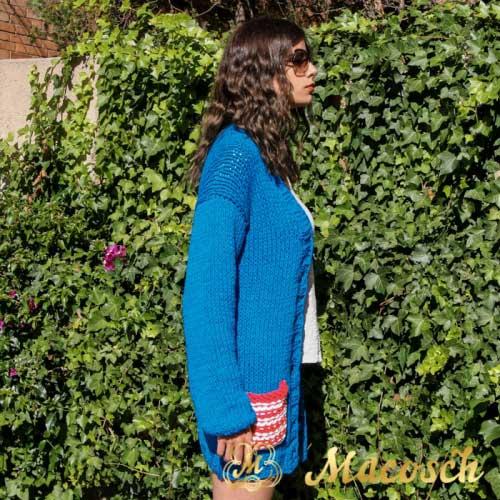 Chaqueta azul eléctrico con bolsillo algodón