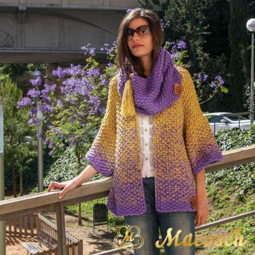 Kit long cardigan + mustard + lilac snood - cotton
