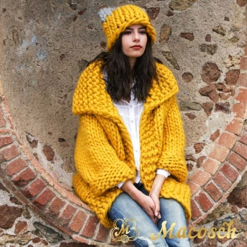 Kit long cardigan + bicolor ears hat + GIFT - braided scarf - big knit yarn wool