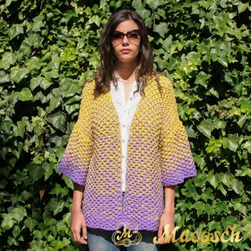 Mustard + lilac long cardigan - cotton