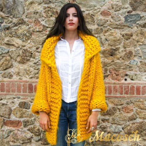 3/4 sleeve long cardigan - big knit yarn wool