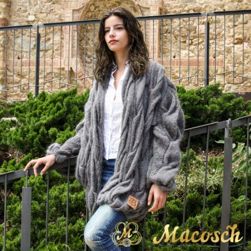 Dark gray cable knit oversized open front cardigan coat - wool mohair
