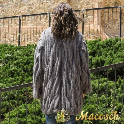 Chaqueta lana mohair dibujo trenzas gris oscuro