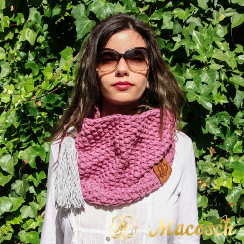 Pink + pearl gray pom pom loop scarf - cotton