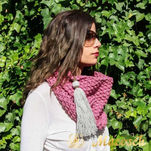 Buff cuello rosa con pompon gris perla algodón