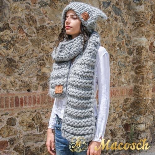 Conjunto gorro oversize orejas + bufanda lana gruesa