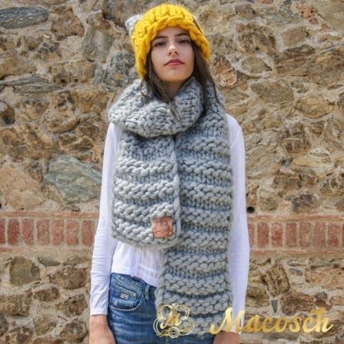 Conjunto bufanda xxl + gorro bicolor