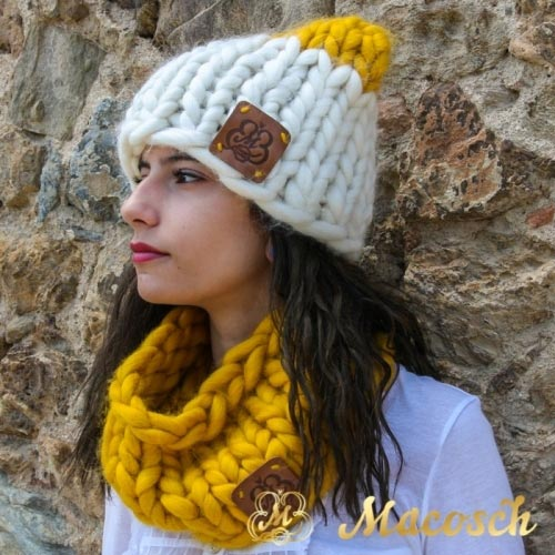 White + mustard ears beanie hat - big knit yarn wool