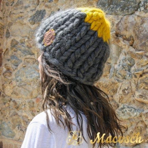 Gorro punto grueso lana merino 100% gris oscuro + mostaza