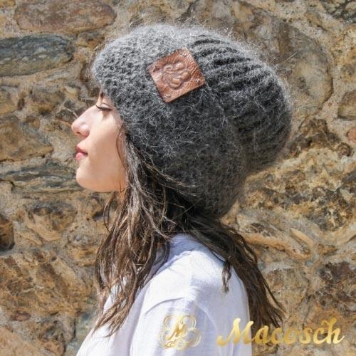 Dark gray hipster beanie hat - 100% merino wool