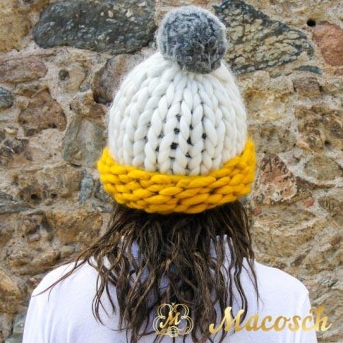 Multicolour white + mustard + pearl gray pom pom beanie hat - big knit yarn wool
