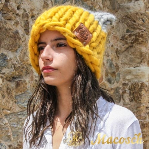 Mustard + pearl gray ears beanie hat - big knit yarn wool