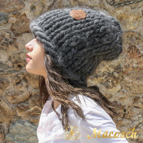XXL beanie hat - big knit yarn wool