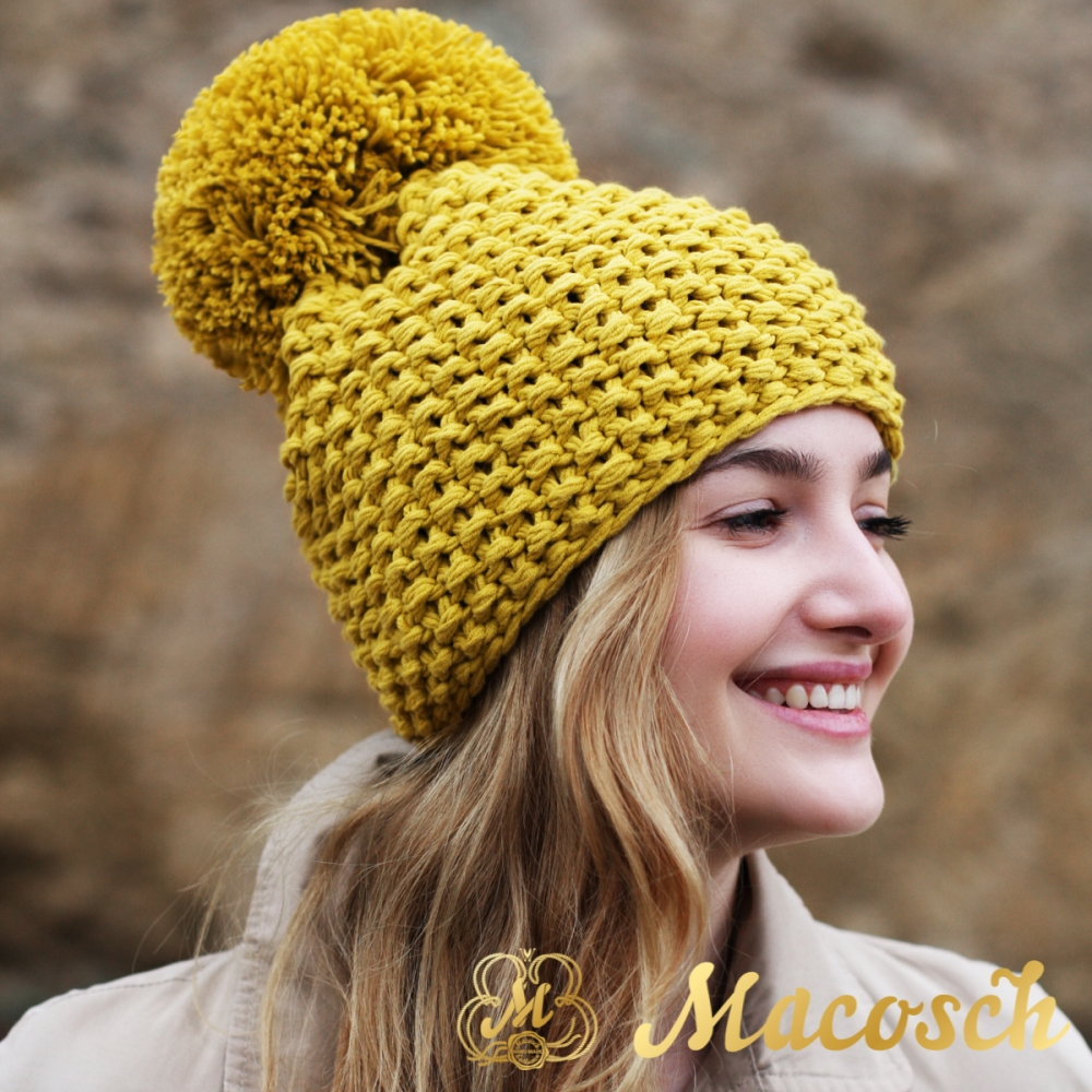 Cotton mustard beanie with pom pom
