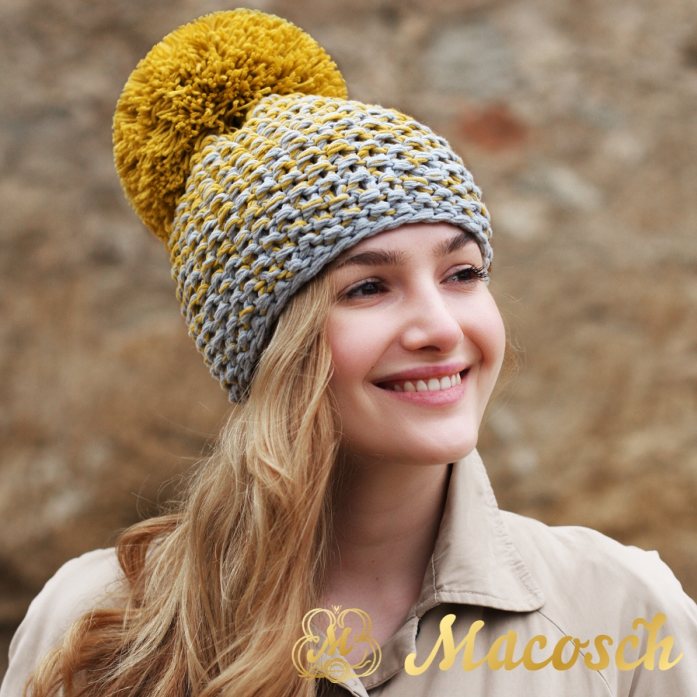Cotton mustard and grey beanie with pom pom