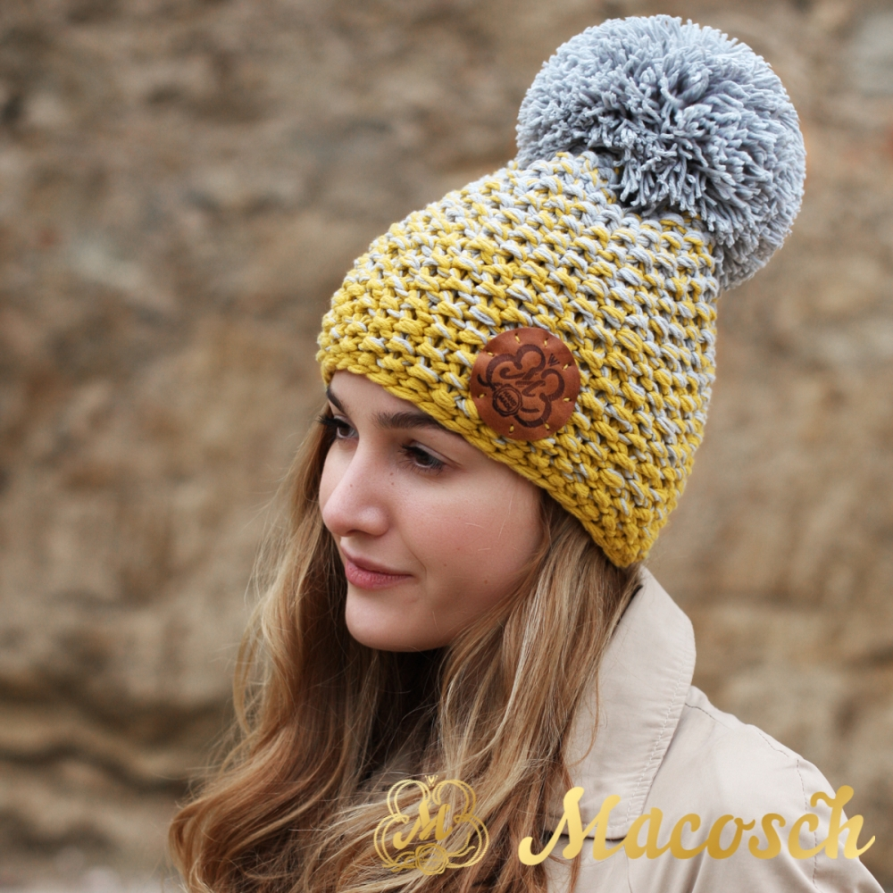 Cotton grey and mustard beanie with pom pom