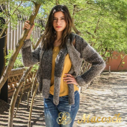 Brown knitted cardigan - 100% wool