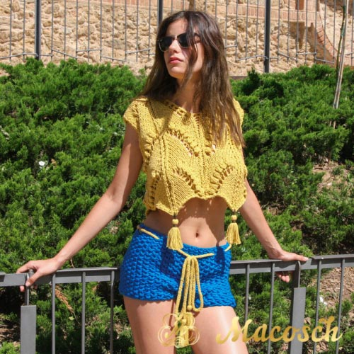 Crochet cotton shorts