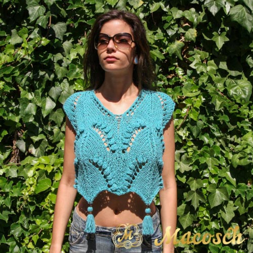 Turquoise-cotton knitted short pom pom top