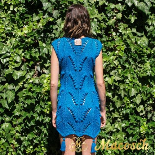 Knitted pom pom dress - cotton