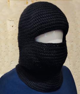 Mascarilla negra, 100% algodón, crochet