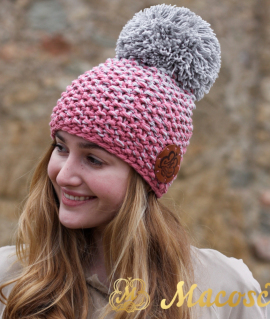 Cotton pearl grey and rose beanie with pom pom