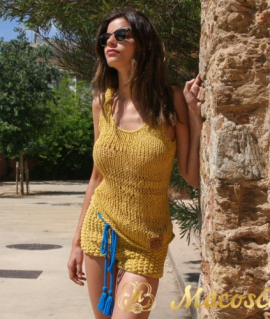 Cotton mustard knitted top