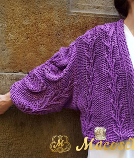 Cardigan AZALIA, purple.100% cotton long-sleeved short cardigan.