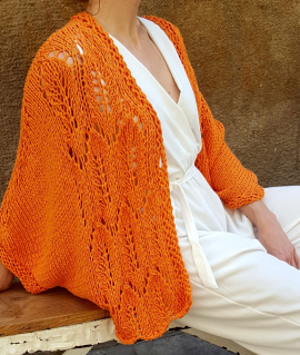 Cardigan IRIS, orange. Cotton bat sleeve cardigan for women