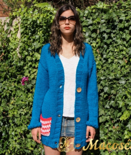 Blue electric v-neck pocket cardigan - cotton