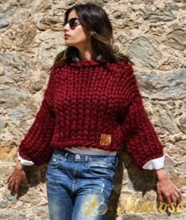 Vine 3/4 sleeve jersey - big knit yarn wool