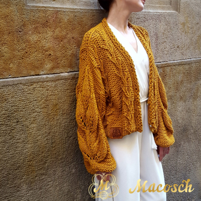 Cardigan AZALIA, ocher.100% cotton long-sleeved short cardigan.