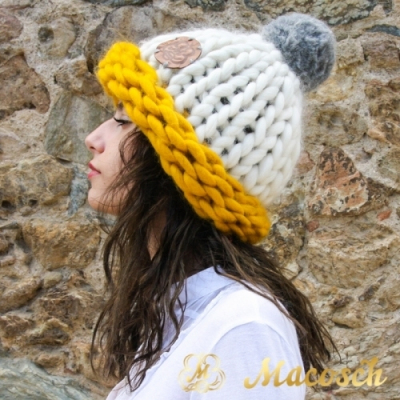 Multicolour white + mustard + pearl gray pom pom beanie hat - big knit yarn wool